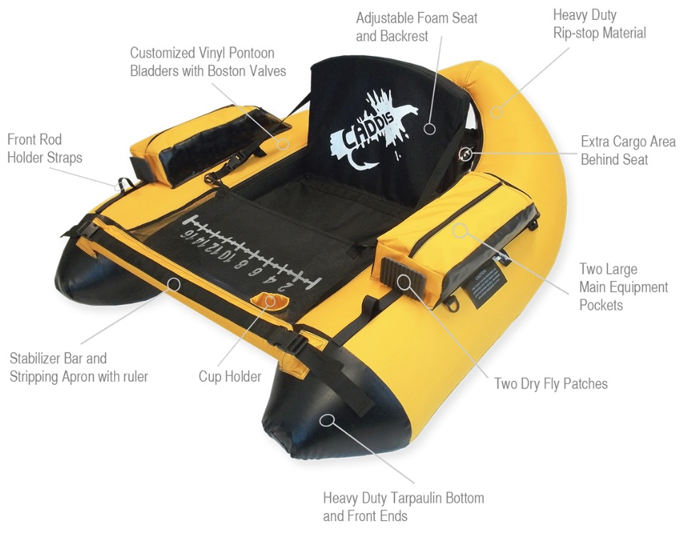 Caddis Sports Premier Plus Inflatable Fishing Float Tube - specifications and features explained