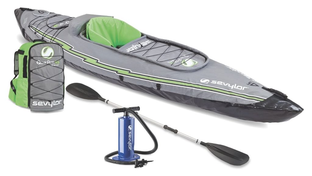 Sevylor Quikpak K5 1-Person Inflatable Kayak - pump paddle backpack included