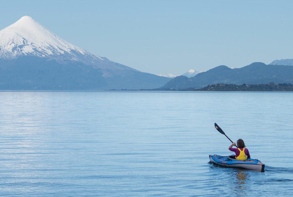 Advanced Elements Advancedframe Expedition Elite AE1009-XE Inflatable Kayak - on lake with snow mountain