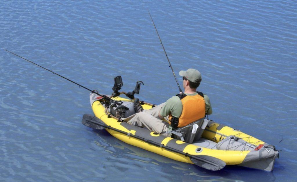 Advanced Elements Straitedge Angler Inflatable Fishing Kayak - single fisherman