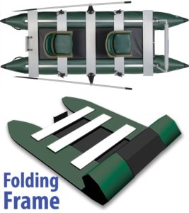 Sea Eagle Green 375fc Inflatable FoldCat Fishing Boat - Pro Angler Guide Package - folding frame with top view