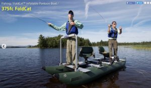 Sea Eagle Green 375fc Inflatable FoldCat Fishing Boat - Pro Angler Guide Package - stable with 2 persons