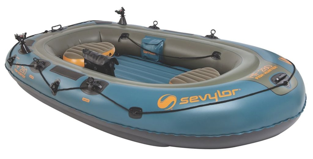 Sevylor Fish Hunter 280 4-Person Fishing Inflatable Boat with Berkley Rod Holder
