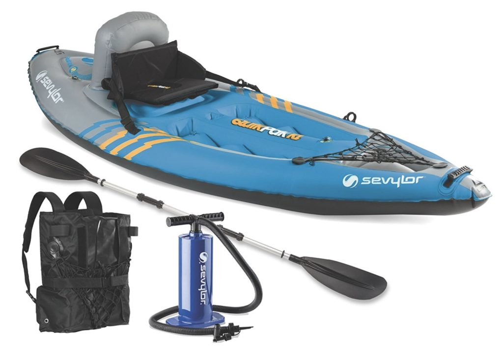 Sevylor Quikpak K1 1-Person Inflatable Kayak - with backpack pump paddle
