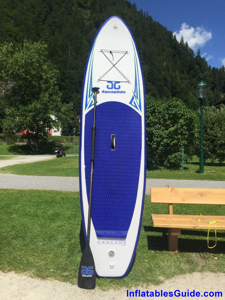 Aquaglide Cascade 10ft inflatable SUP - upright with paddle