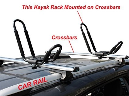 Lifetime Warranty TMS J-Bar Rack HD Kayak Carrier Canoe Boat Surf Ski Roof - mounted on crossbars